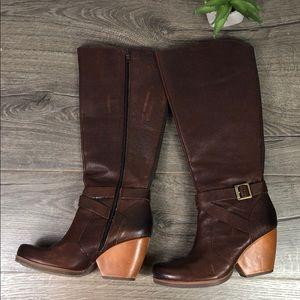 Kork-Ease Tall Heeled Boot Brown